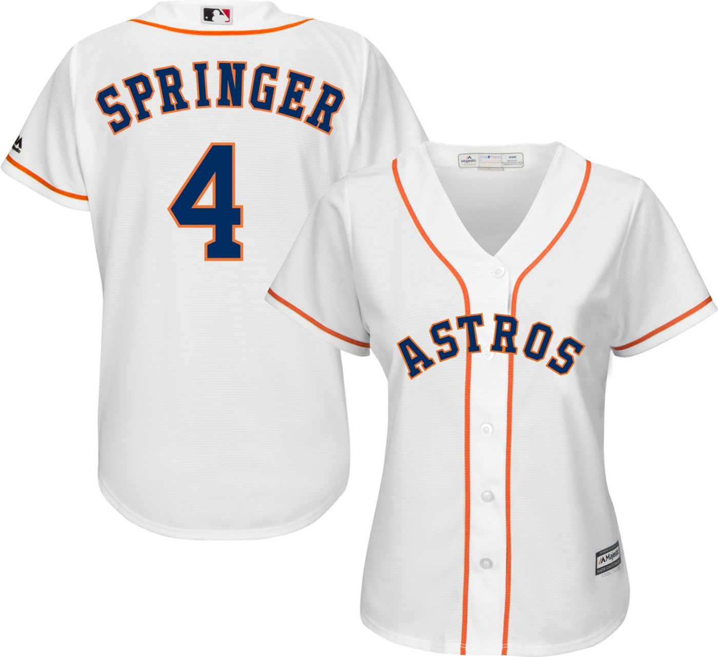 Majestic Women's Replica Houston Astros George Springer #4 Cool Base Home White Jersey