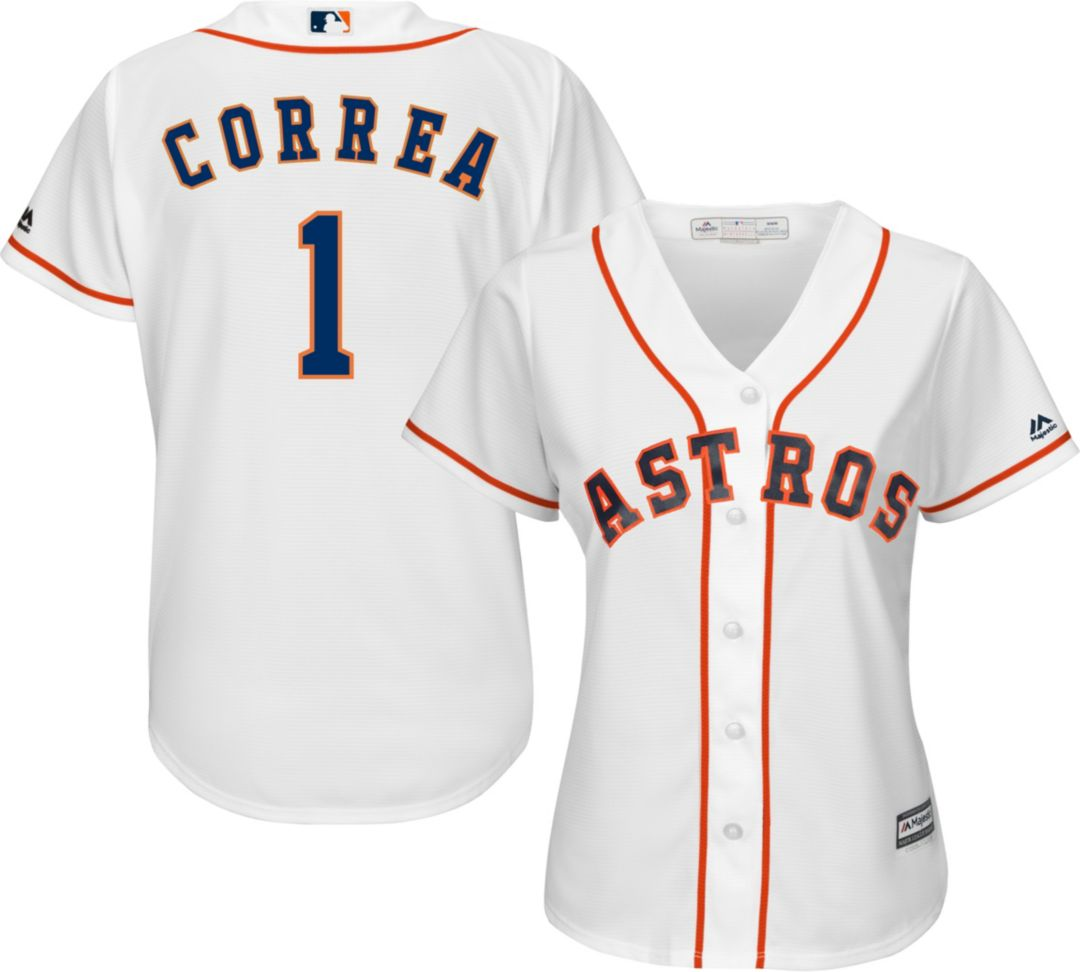 sale retailer 99043 358db Majestic Women's Replica Houston Astros Carlos Correa #1 Cool Base Home  White Jersey
