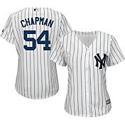 Majestic Women's Replica New York Yankees Aroldis Chapman #54 Cool Base Home White Jersey