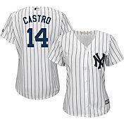 Majestic Women's Replica New York Yankees Starlin Castro #13 Cool Base Home White Jersey