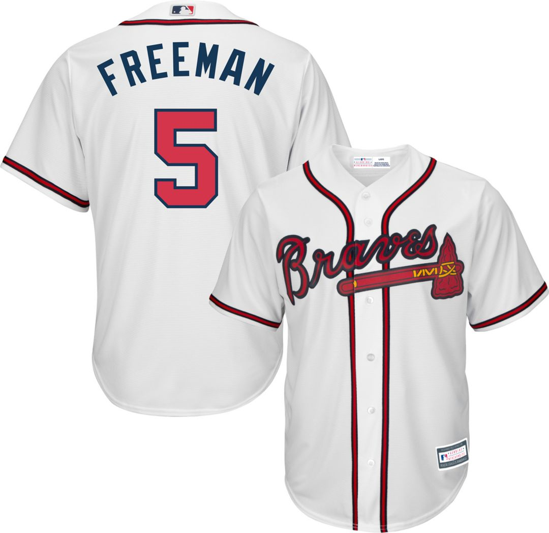 new styles 219d4 9cd58 Youth Replica Atlanta Braves Freddie Freeman #5 Home White Jersey