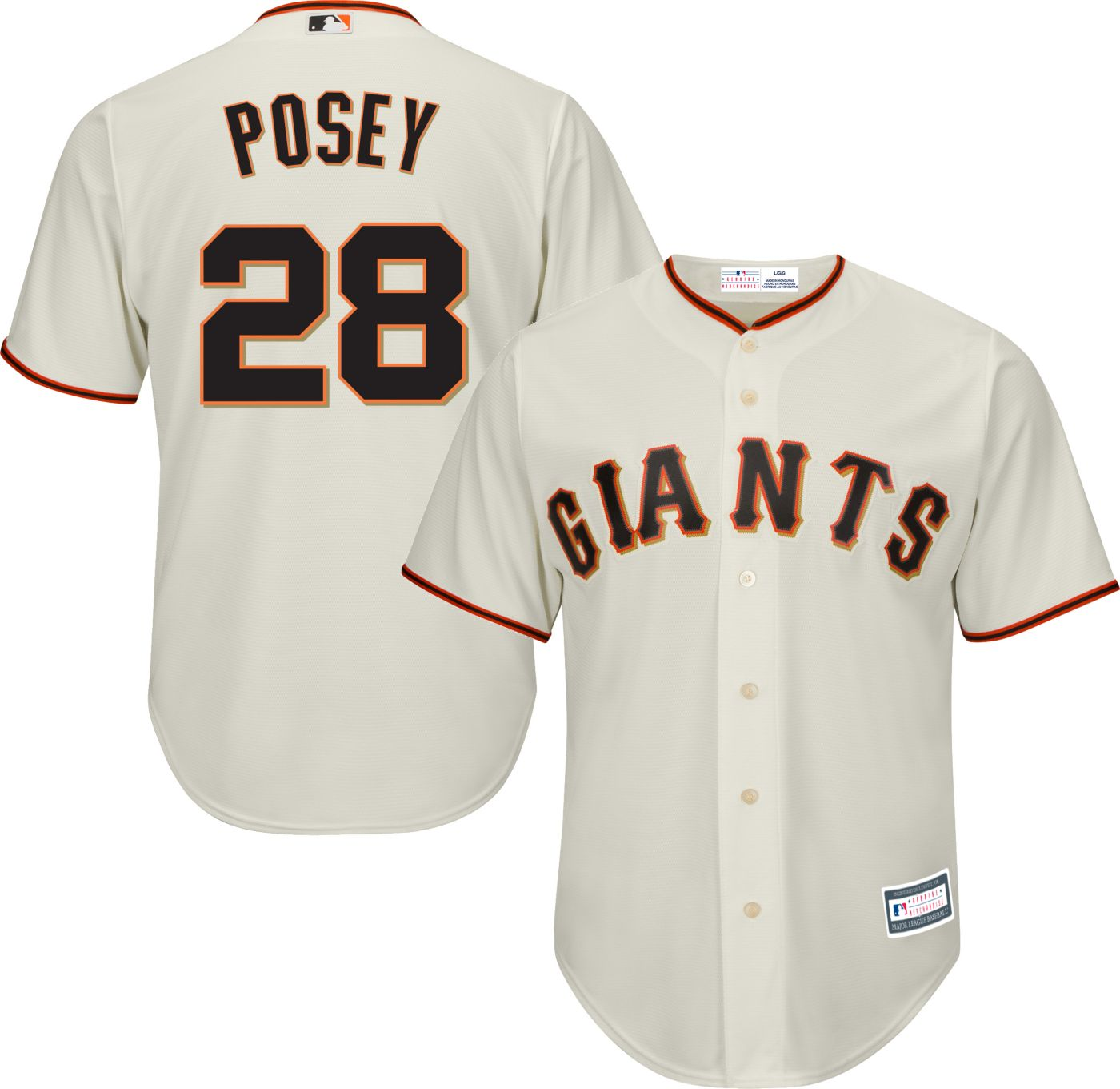 Youth Replica San Francisco Giants Buster Posey #28 Home Ivory Jersey