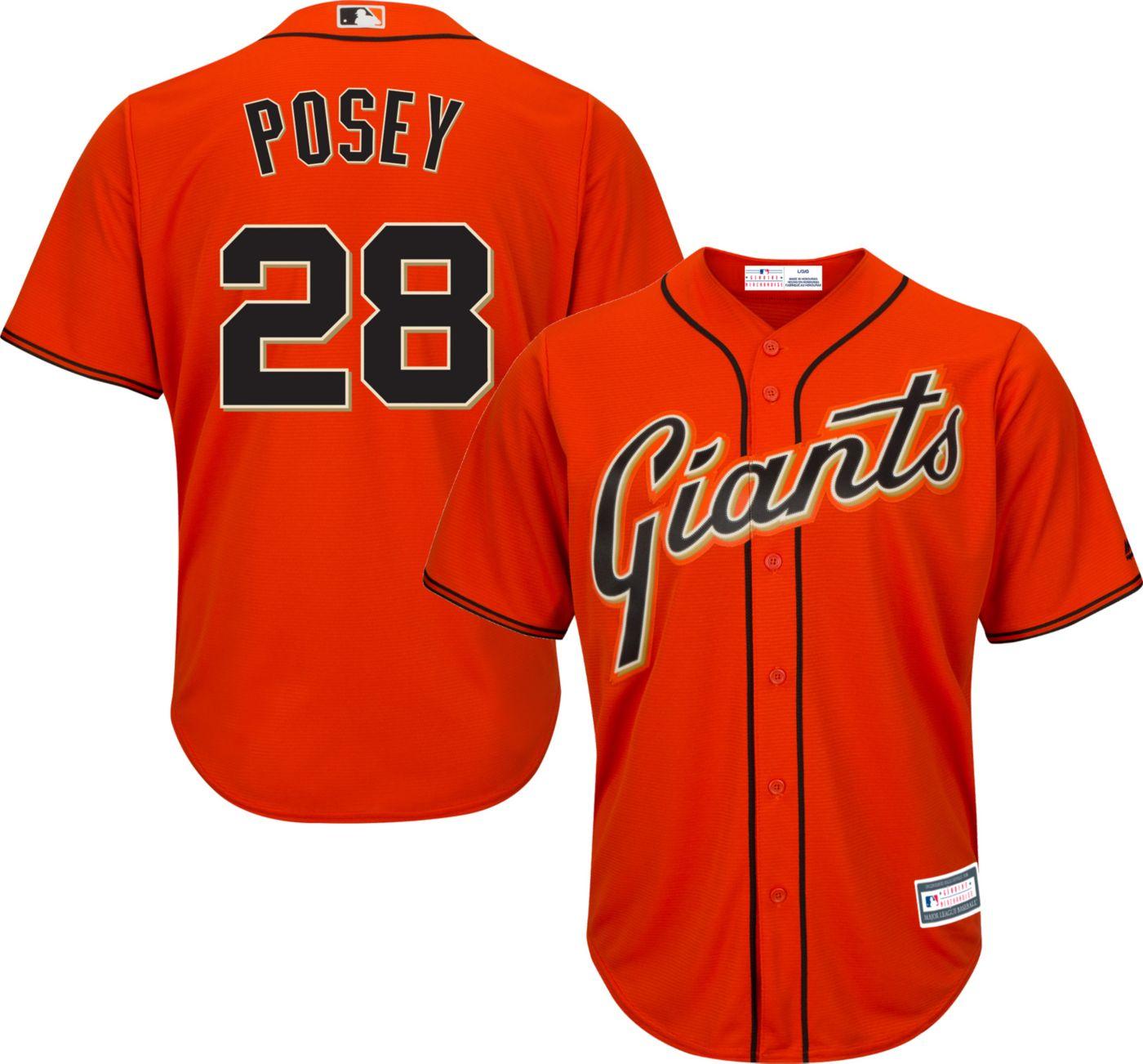 Youth Replica San Francisco Giants Buster Posey #28 Alternate Orange Jersey