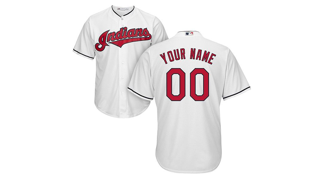 check out 46427 735ca Majestic Youth Custom Cool Base Replica Cleveland Indians Home White Jersey