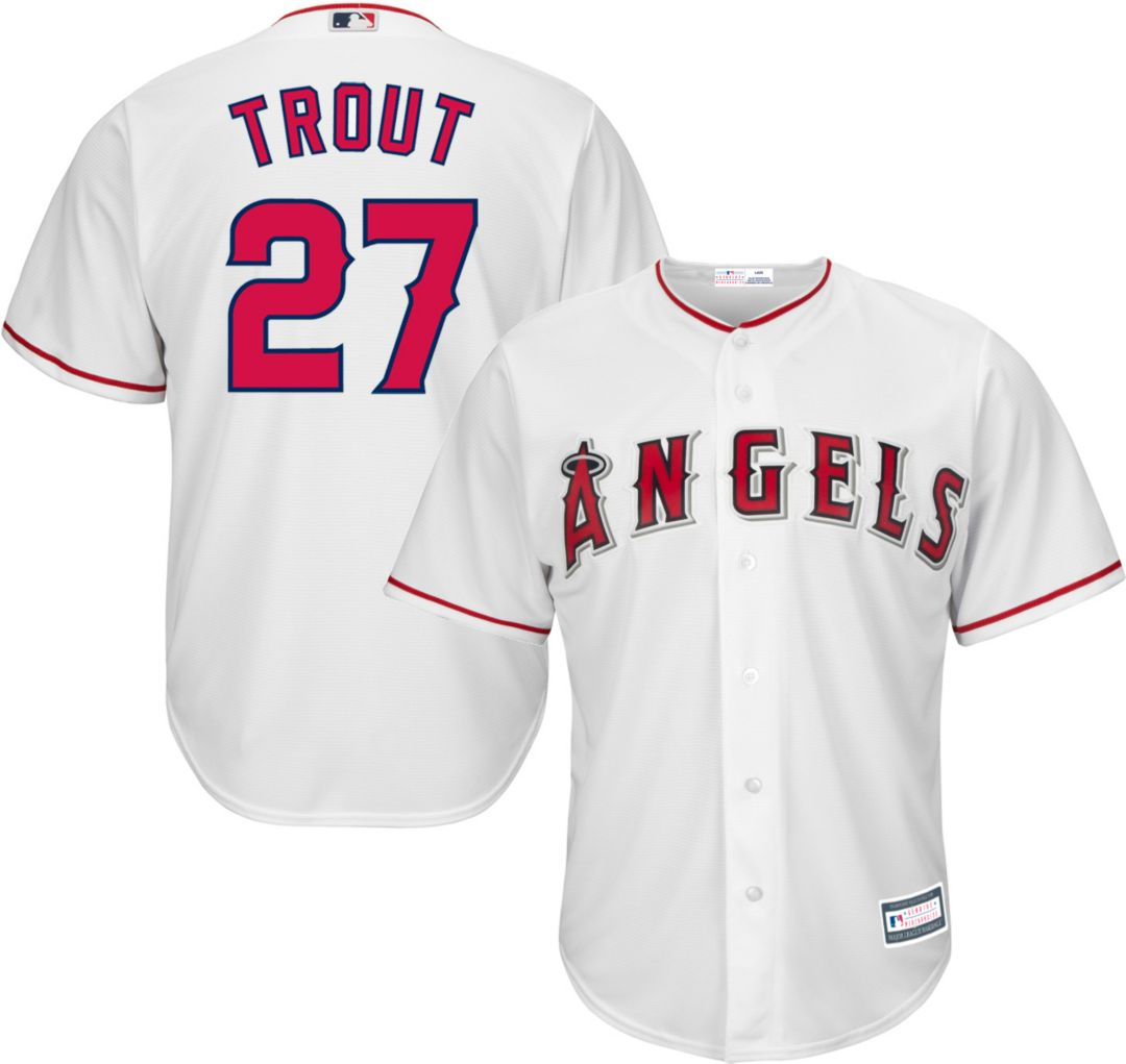 timeless design 0516a eee1e Youth Replica Los Angeles Angels Mike Trout #27 Home White Jersey