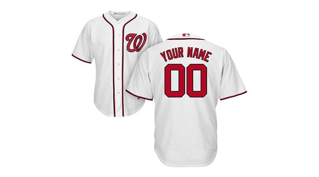 79c34f24493 Majestic Youth Custom Cool Base Replica Washington Nationals Home White  Jersey 1