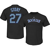 Majestic Youth Colorado Rockies Trevor Story #27 Black T-Shirt