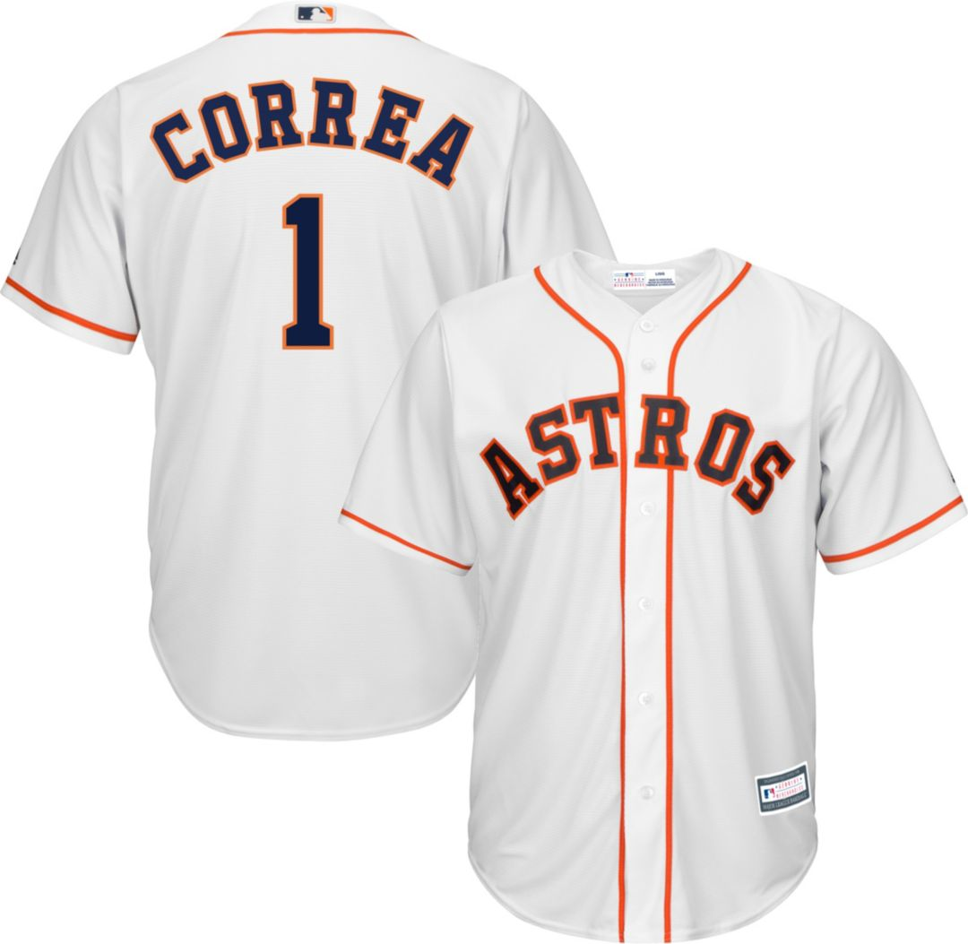 innovative design 5a0a3 14157 Youth Replica Houston Astros Carlos Correa #1 Home White Jersey