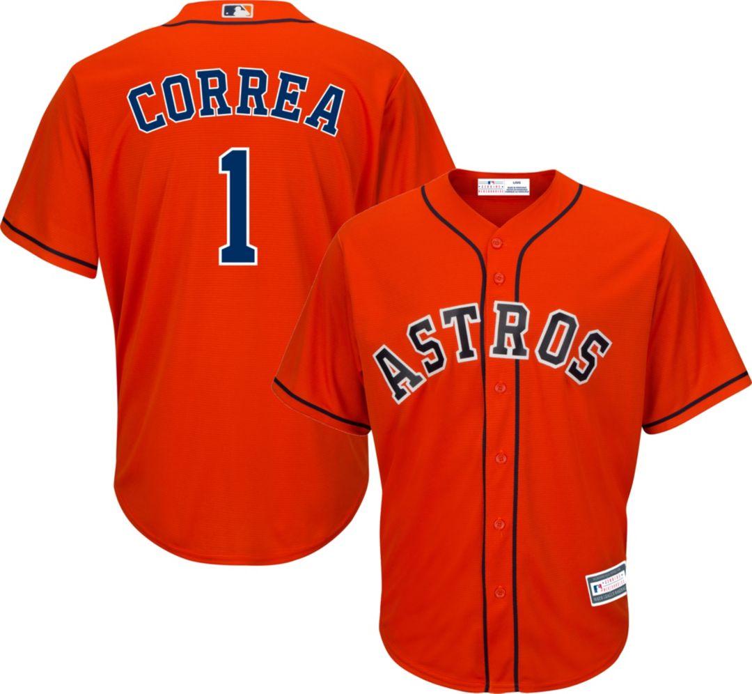 factory price 56e7b 9244b Youth Replica Houston Astros Carlos Correa #1 Alternate Orange Jersey