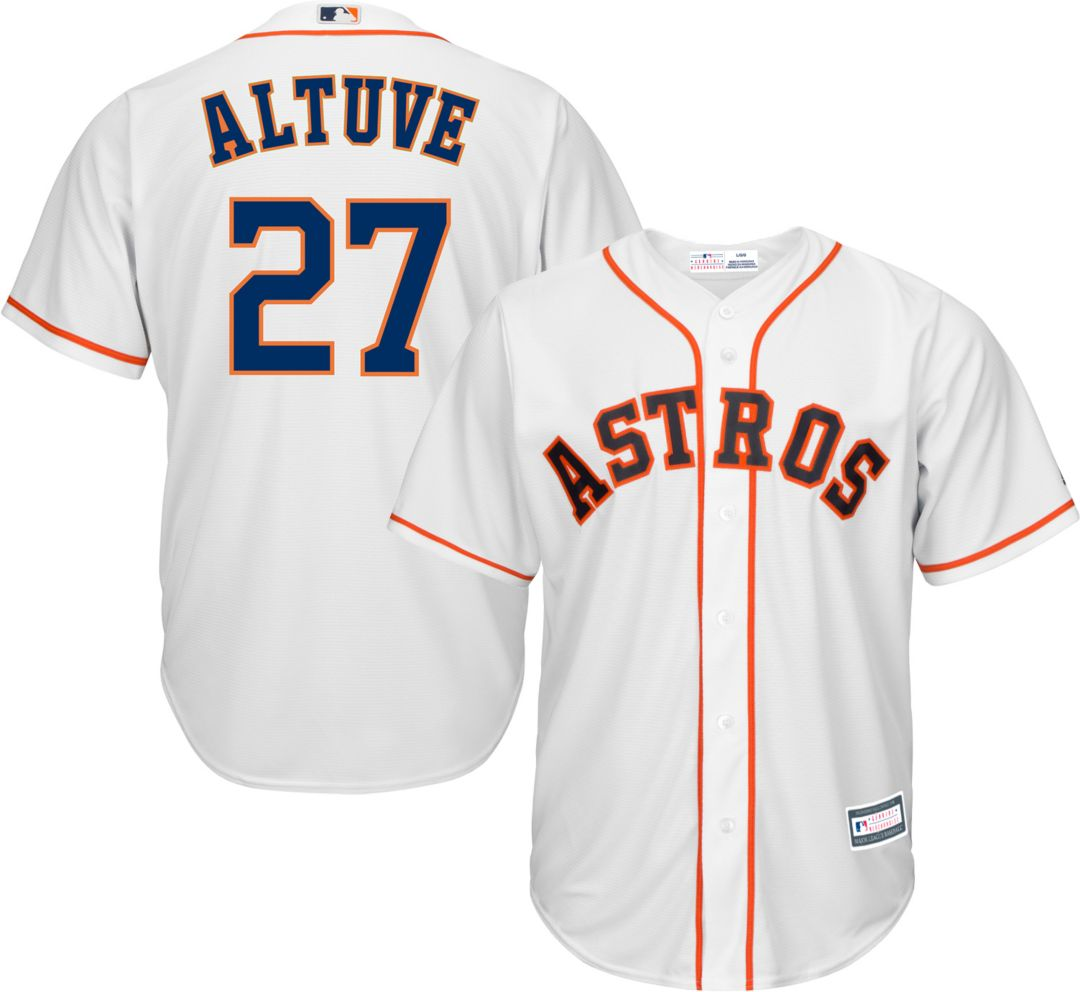 sports shoes ec545 14929 Youth Replica Houston Astros Jose Altuve #27 Home White Jersey