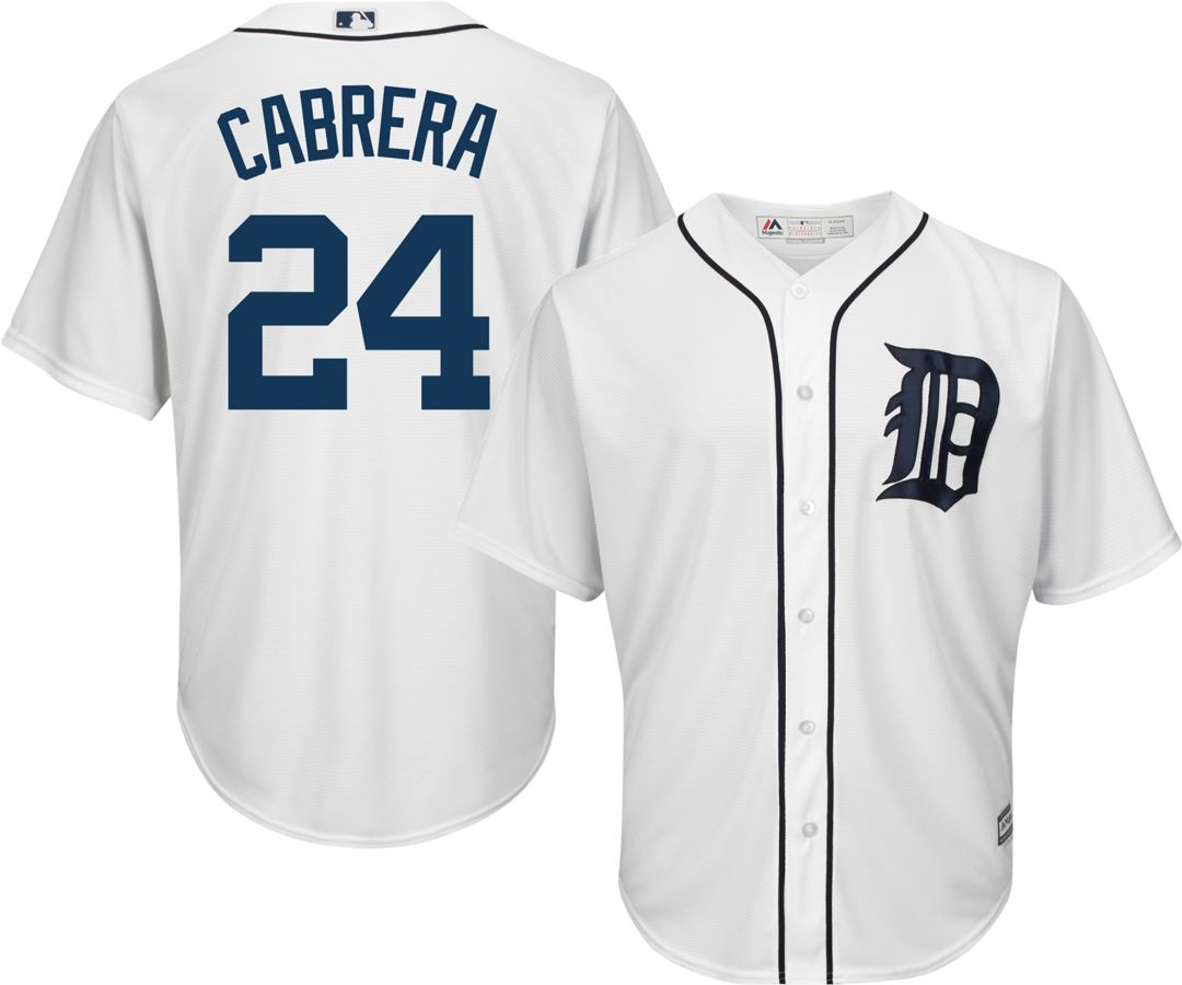 detailed look 4ba75 ad2d7 Majestic Youth Replica Detroit Tigers Miguel Cabrera #24 Cool Base Home  White Jersey
