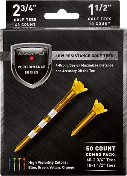 Maxfli Performance Series Low Resistance 2 3/4'' & 1 1/2'' Assorted Golf Tees - 50 Pack
