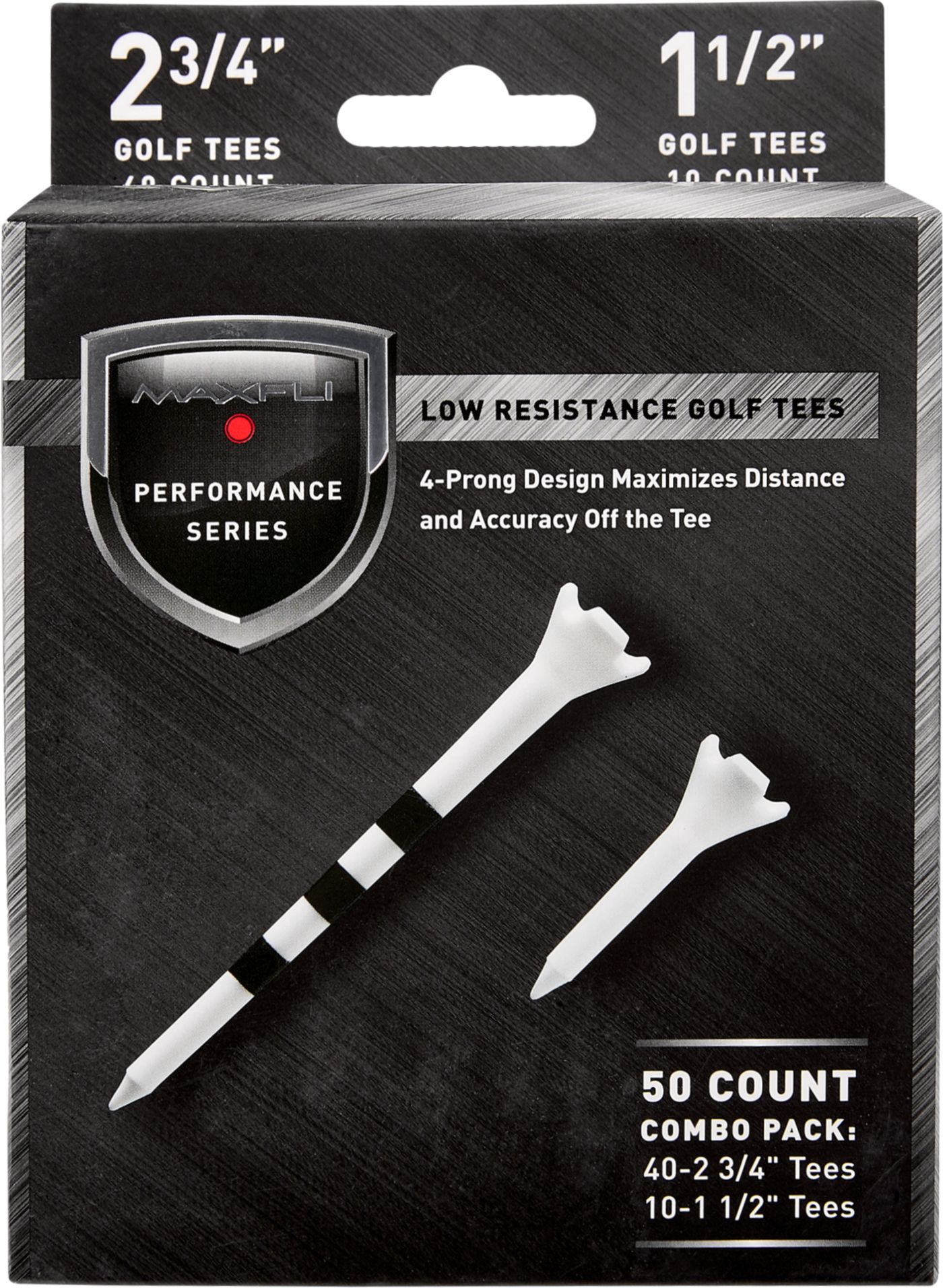 "Maxfli Performance Series Low Resistance 2.75"" & 1.5"" White Golf Tees – 50-Pack"