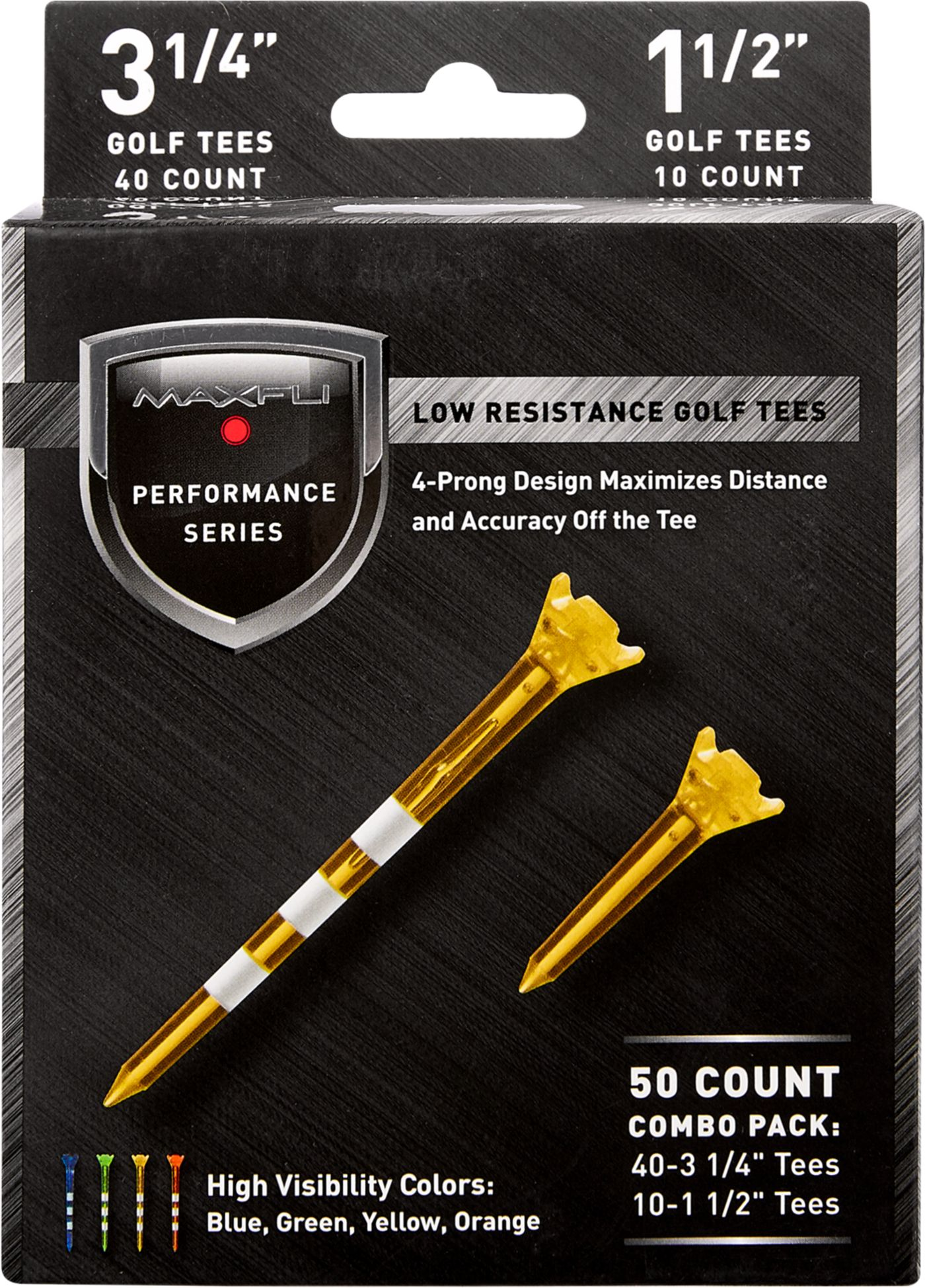 "Maxfli Performance Series Low Resistance 3.25"" & 1.5"" Translucent Golf Tees – 50-Pack"