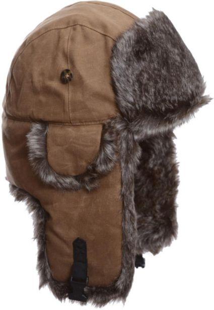 Mad Bomber Men s Khaki Waxed Cotton Faux Fur Bomber Hat  195673474