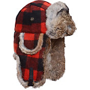 Mad Bomber Men's Wool Plaid Faux Fur Wool Bomber