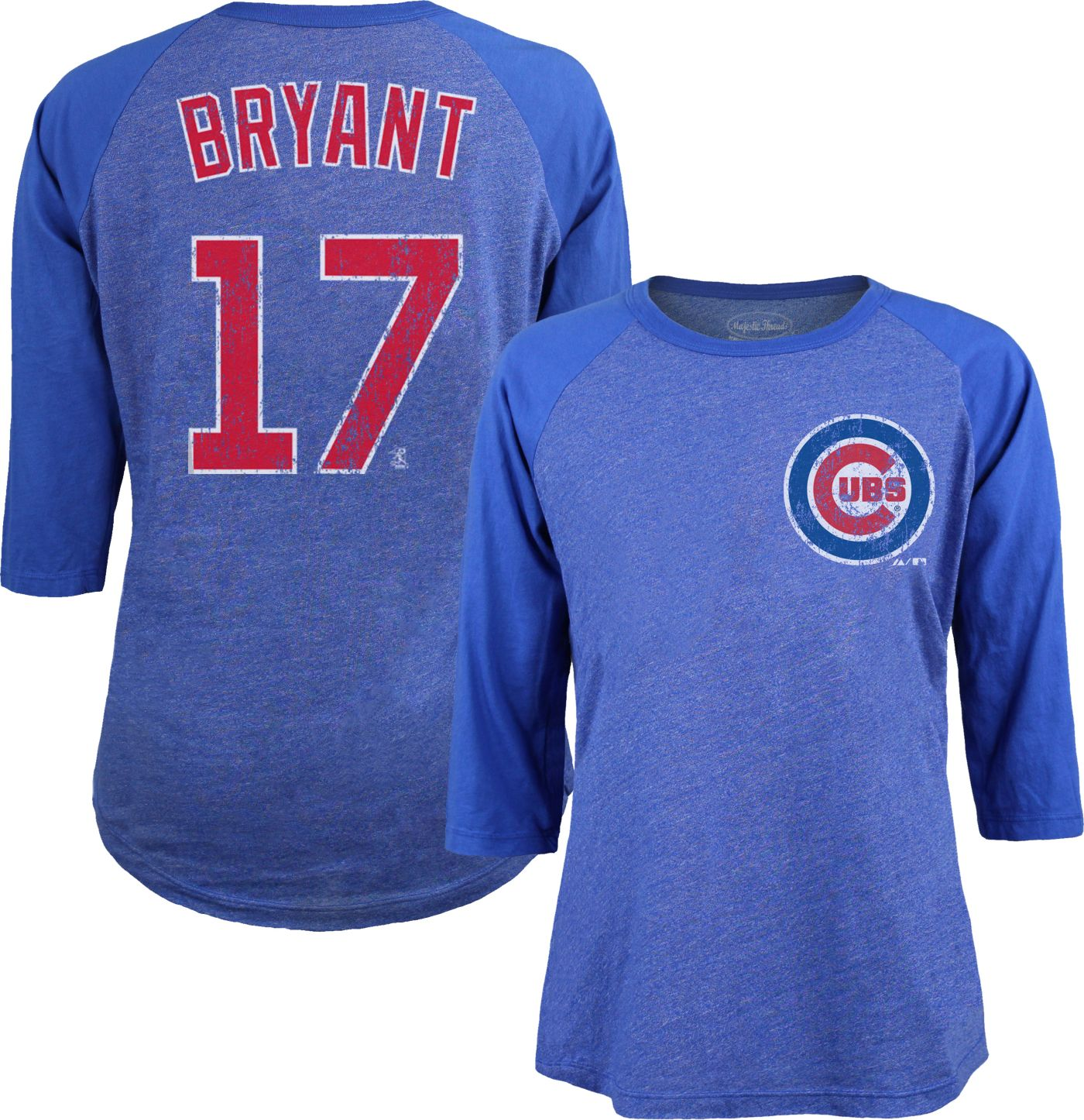Majestic Threads Women's Chicago Cubs Kris Bryant #17 Raglan Royal Three-Quarter Sleeve Shirt