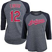 Majestic Threads Women's Cleveland Indians Francisco Lindor #12 Raglan Navy Three-Quarter Sleeve Shirt