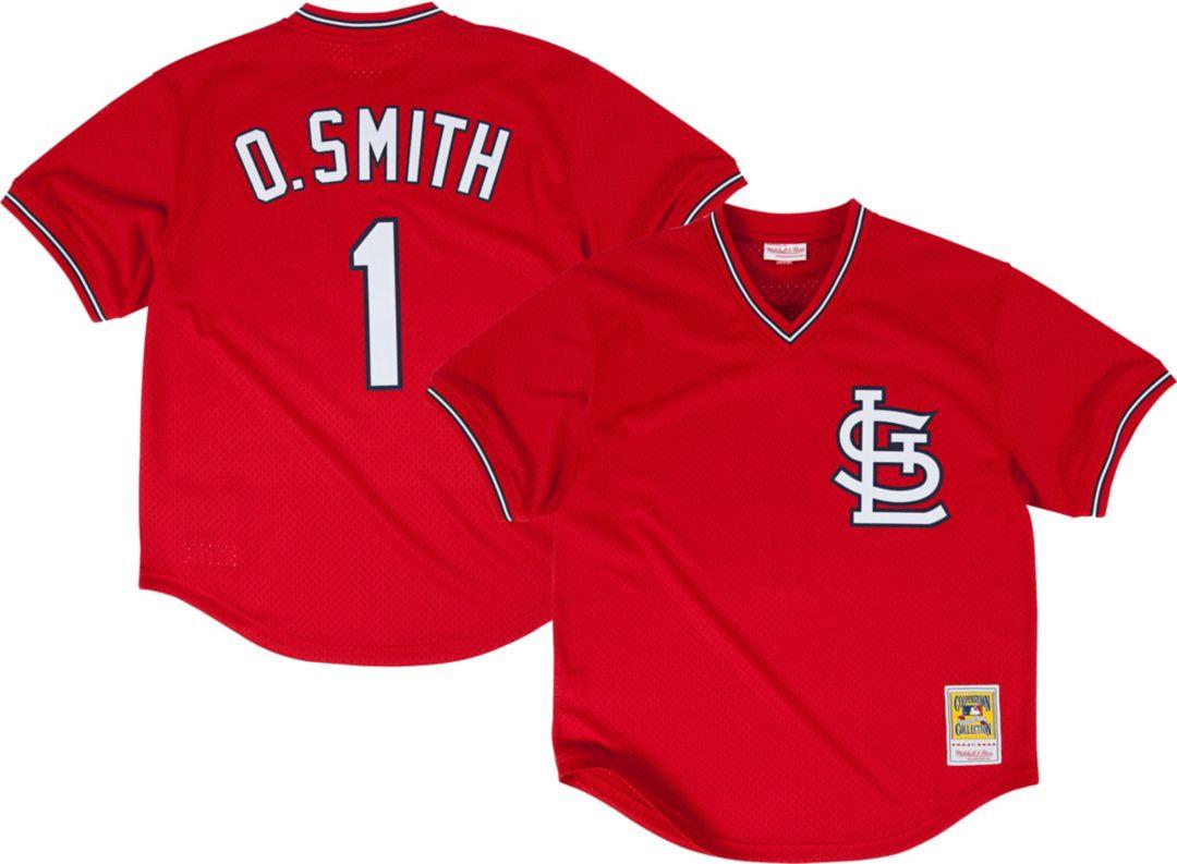 buy popular ddbb8 f097b Mitchell & Ness Men's Replica St. Louis Cardinals Ozzie Smith Red  Cooperstown Batting Practice Jersey