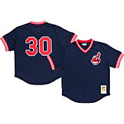Mitchell & Ness Men's Replica Cleveland Indians Joe Carter Navy Cooperstown Batting Practice Jersey