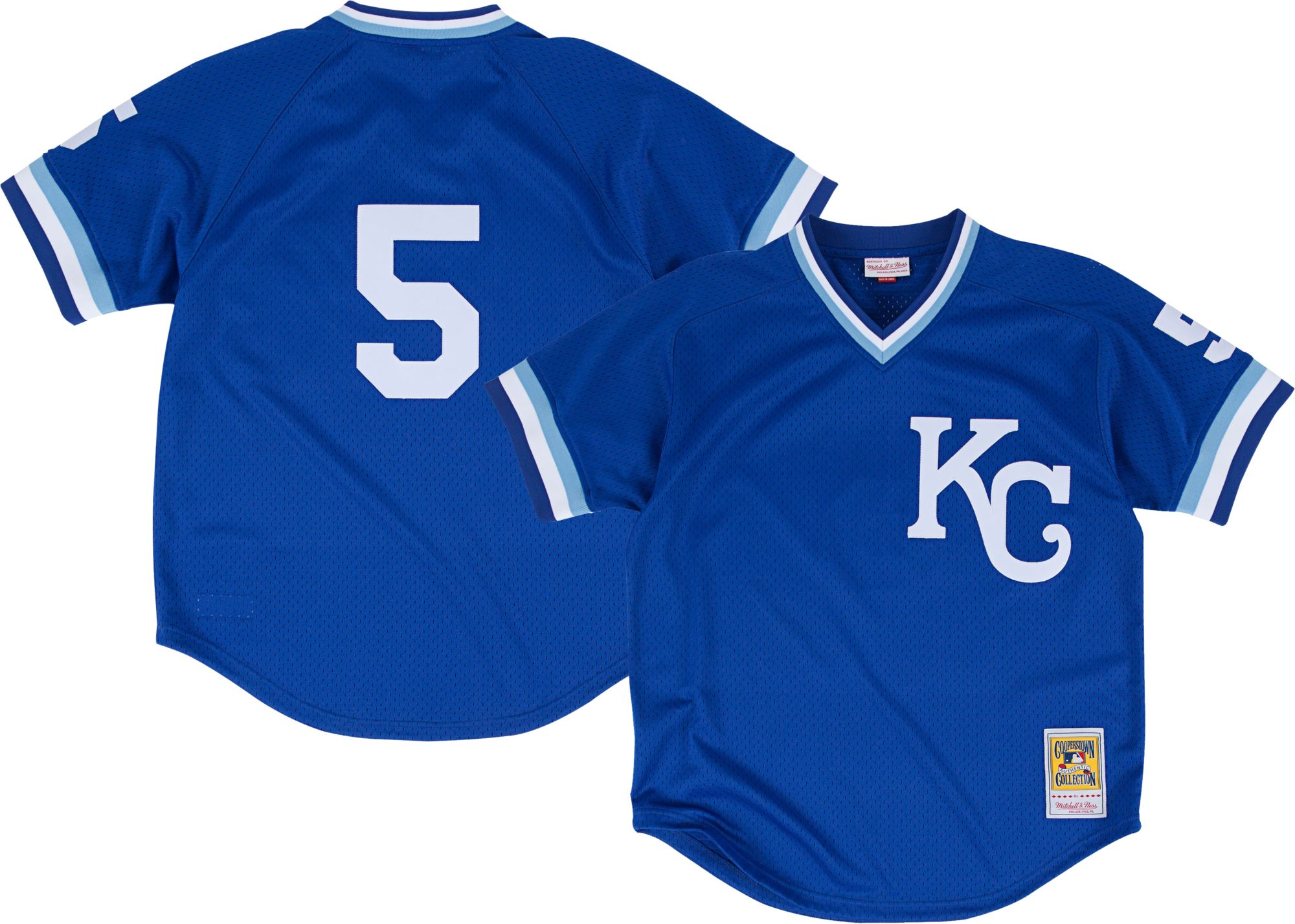 6bbbfb75d4a ... blue jersey bas 256db 9f3a5  discount code for mitchell ness mens  replica kansas city royals george brett royal cooperstown batting practice