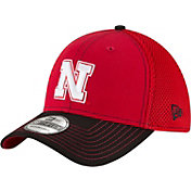 New Era Men's Nebraska Cornhuskers Team Front Scarlet/Black Neo 39Thirty Stretch Fit Hat
