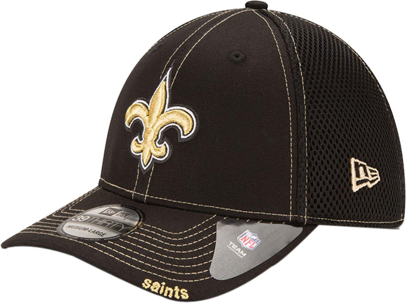New Era Men's New Orleans Saints 39Thirty Neoflex Black Stretch Fit Hat