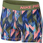 Nike Girls' 3'' Pro Cool Geoprism Printed Shorts