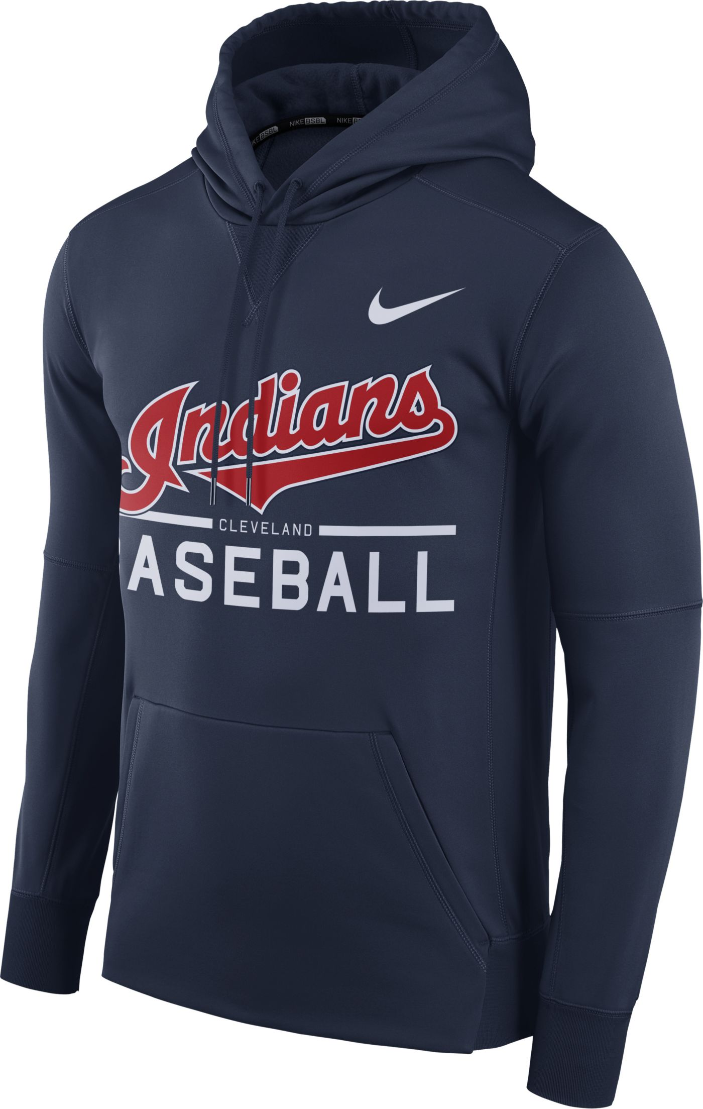 Nike Men's Cleveland Indians Dri-FIT Navy Therma Pullover Hoodie