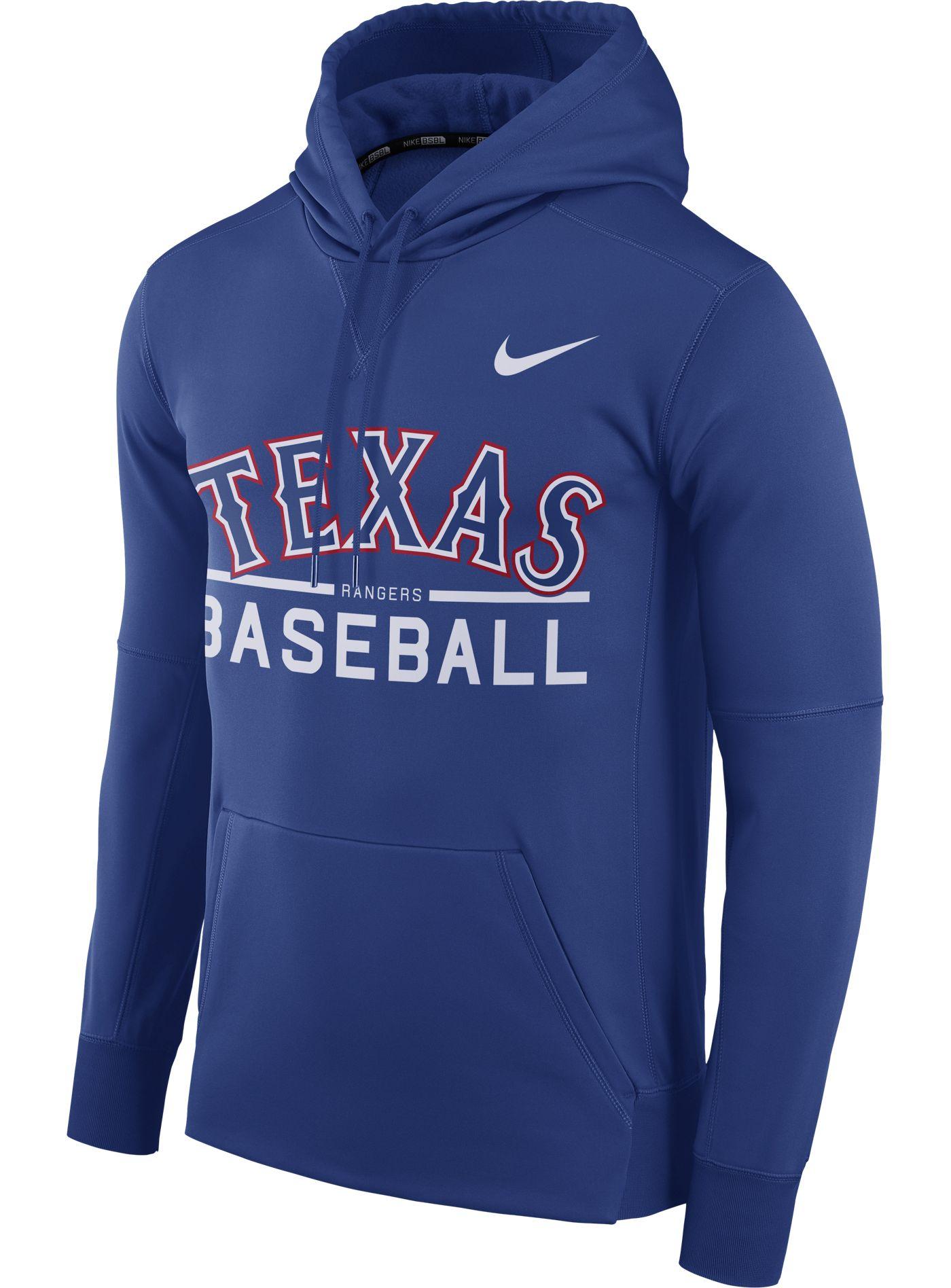 Nike Men's Texas Rangers Dri-FIT Royal Therma Pullover Hoodie