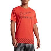Nike Men's Dry Swoosh Stripe Running T-Shirt