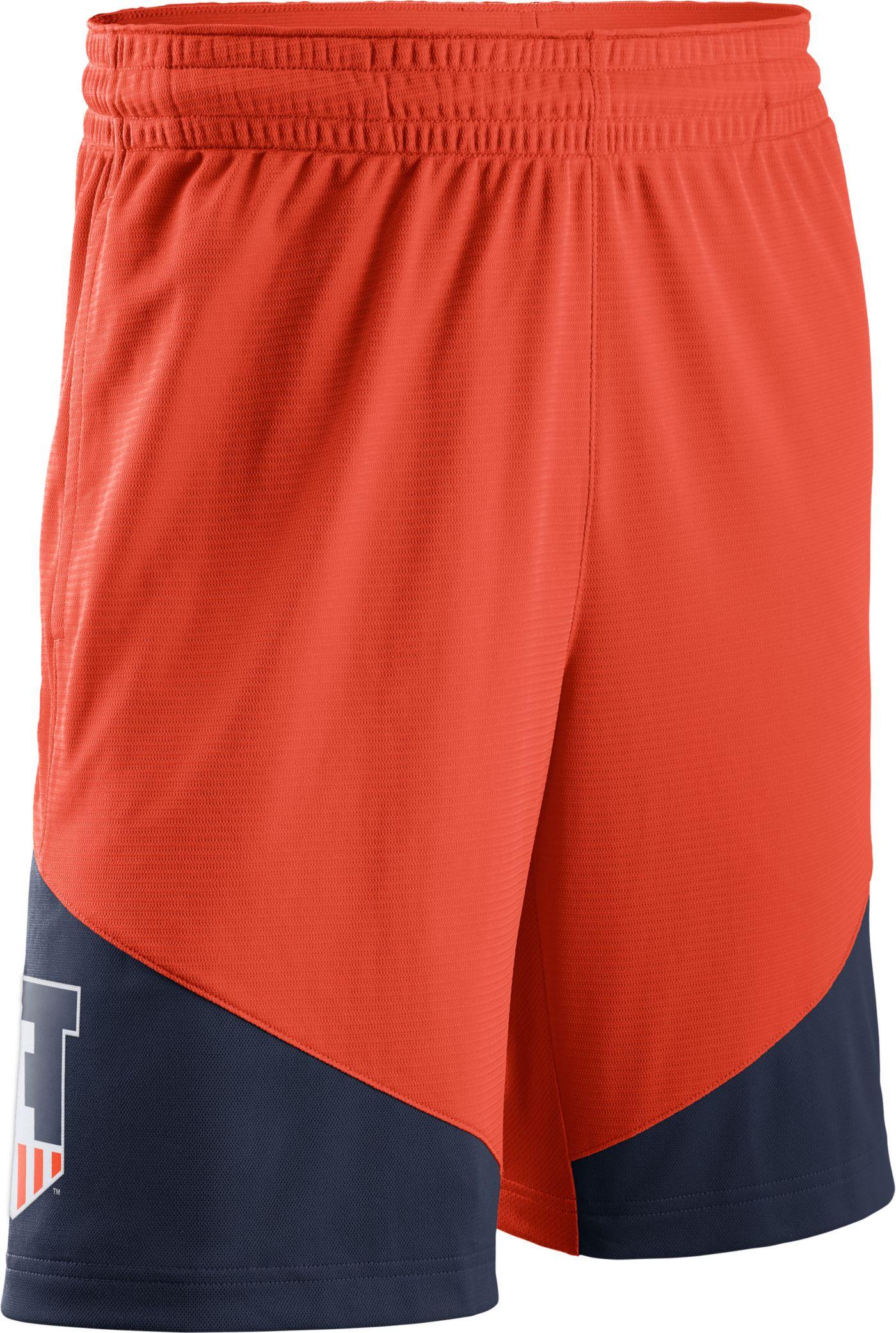 Nike Men's Illinois Fighting Illini Orange/Blue New Classics ELITE Basketball Shorts