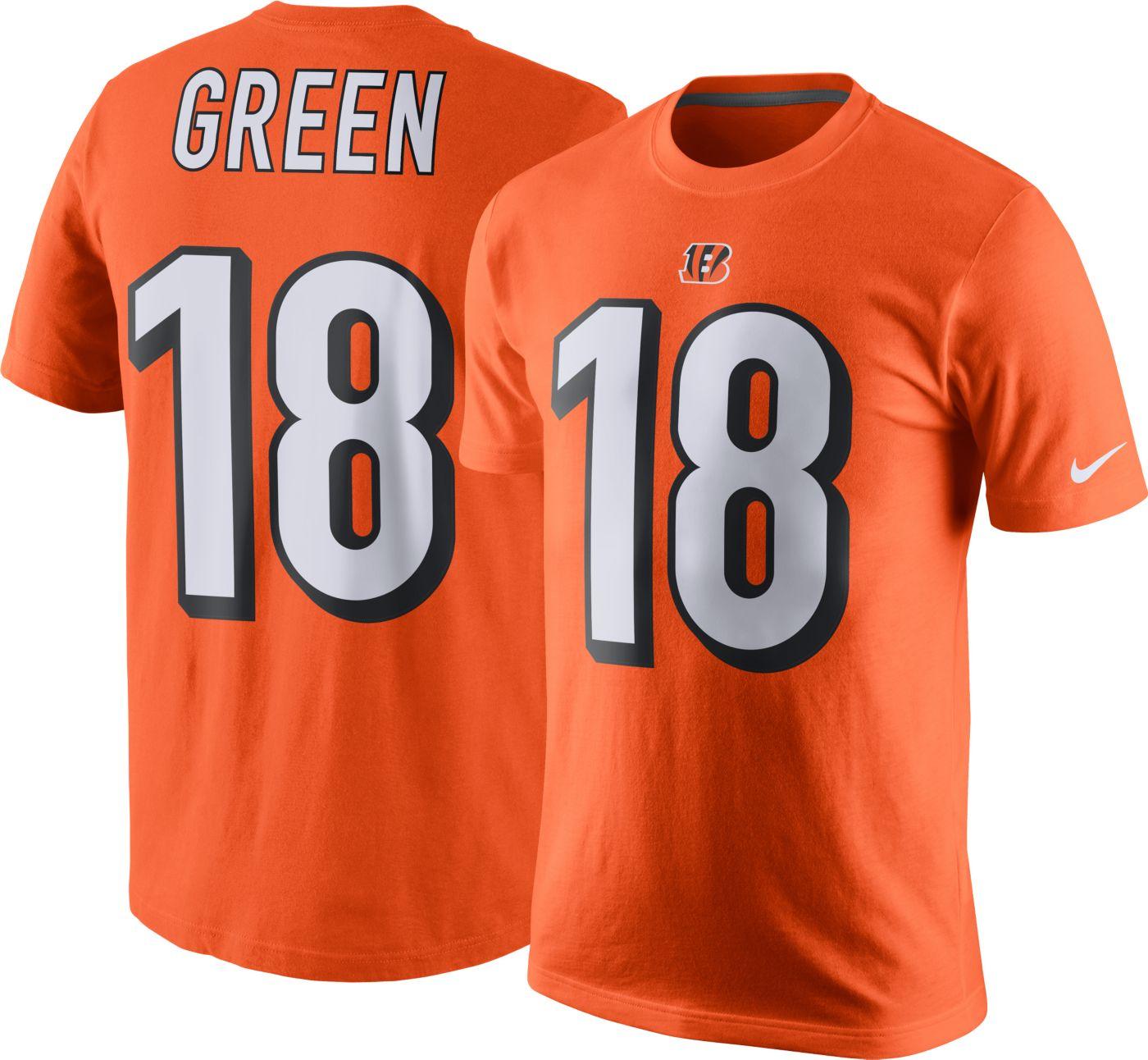 Nike Men's Cincinnati Bengals A.J. Green #18 Orange T-Shirt