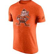 Nike Men's Cleveland Browns Tri-Blend Historic Logo Orange T-Shirt