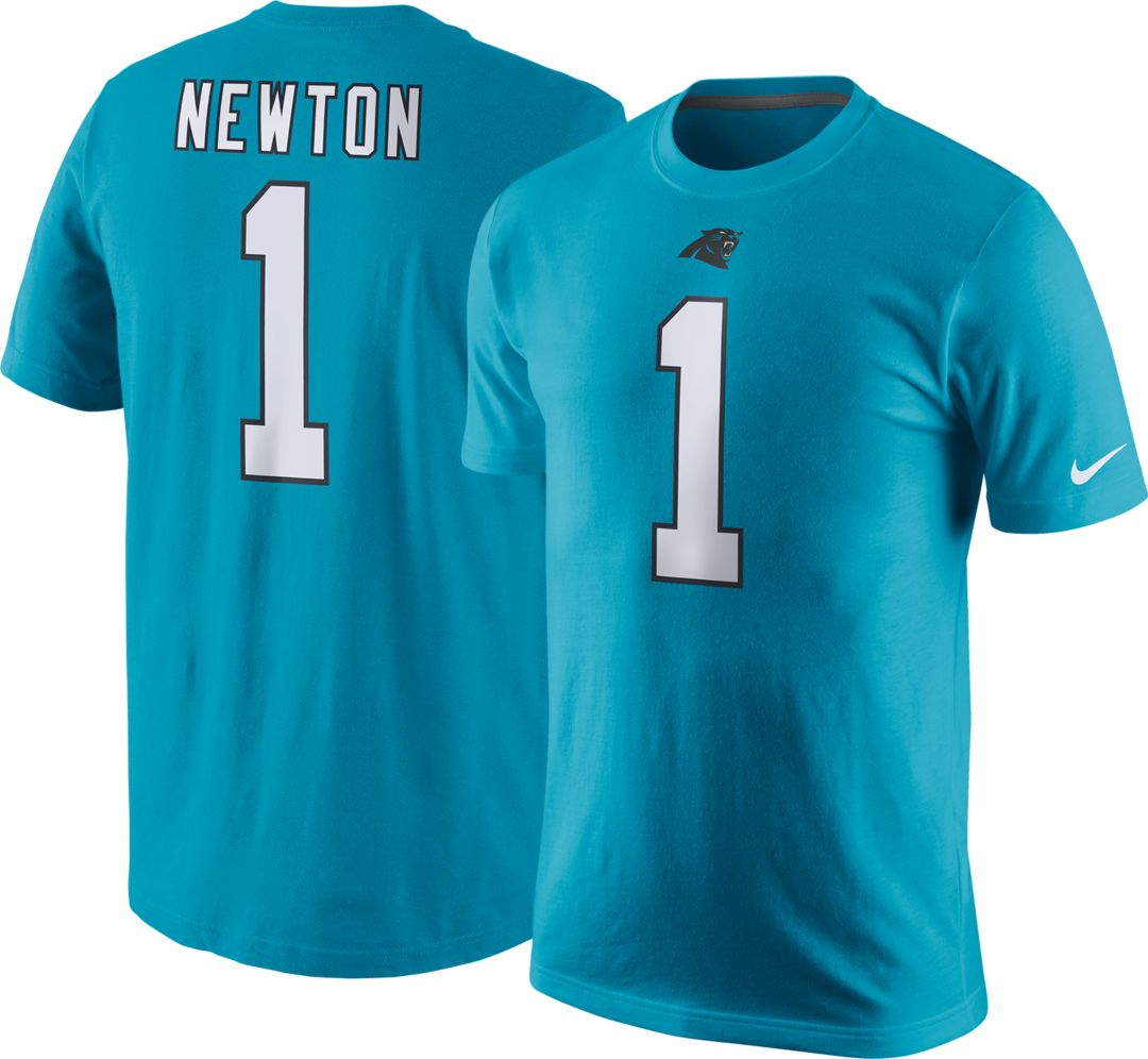 low priced 827e2 f9607 Nike Men's Carolina Panthers Cam Newton #1 Pride Blue T-Shirt