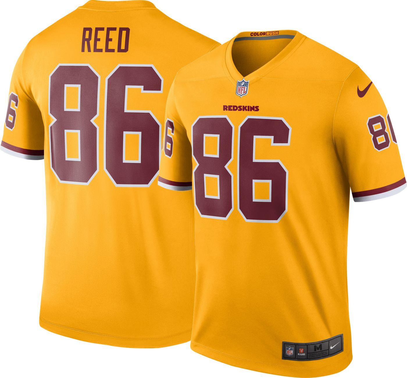 Nike Men's Color Rush Washington Redskins Jordan Reed #86 Legend Game Jersey