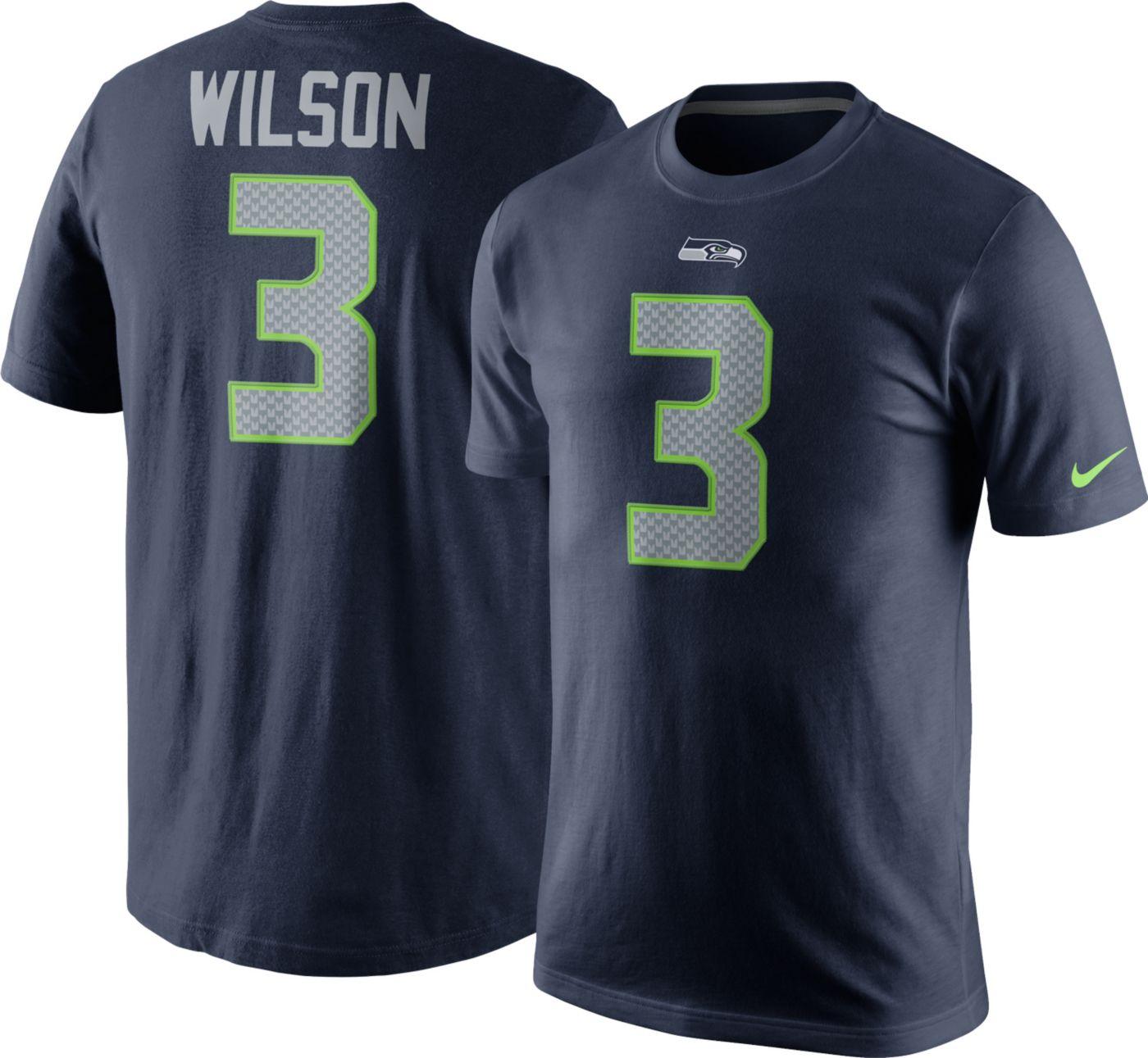 Nike Men's Seattle Seahawks Russell Wilson #3 Pride Navy T-Shirt