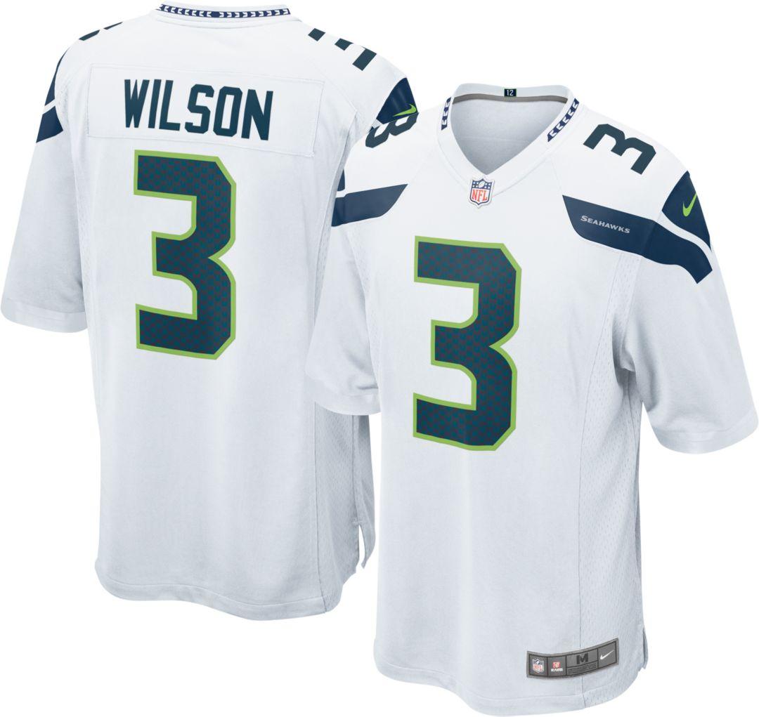 65160172 Nike Men's Away Game Jersey Seattle Seahawks Russell Wilson #3