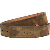 Nike Men's Sleek Modern Covered Plaque Suede Golf Belt