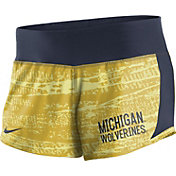 Nike Women's Michigan Wolverines Maize/Blue Crew Performance Shorts
