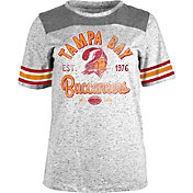 NFL Team Apparel Women's Tampa Bay Buccaneers Peppercorn Throwback Grey T-Shirt