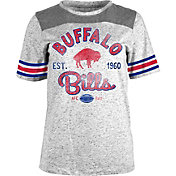 NFL Team Apparel Women's Buffalo Bills Peppercorn Throwback Grey T-Shirt