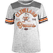 NFL Team Apparel Women's Cleveland Browns Peppercorn Throwback Grey T-Shirt