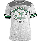 NFL Team Apparel Women's Philadelphia Eagles Peppercorn Throwback Grey T-Shirt