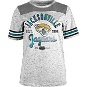 NFL Team Apparel Women's Jacksonville Jaguars Peppercorn Throwback Grey T-Shirt