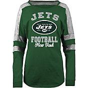New Era Women's New York Jets Boyfriend Green Long Sleeve Shirt