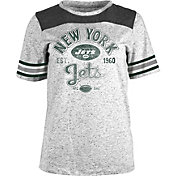 NFL Team Apparel Women's New York Jets Peppercorn Throwback Grey T-Shirt
