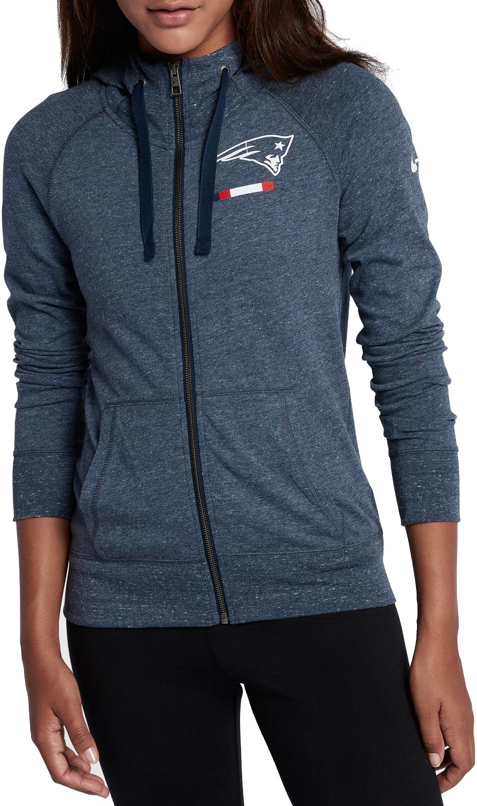 Nike Women s New England Patriots Gym Vintage Full-Zip Navy Hoodie ... 038b6db41