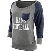 Nike Women's Los Angeles Rams Tailgate Vintage Crew Grey Long Sleeve Shirt