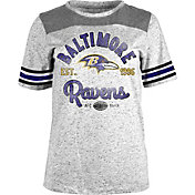 NFL Team Apparel Women's Baltimore Ravens Peppercorn Throwback Grey T-Shirt